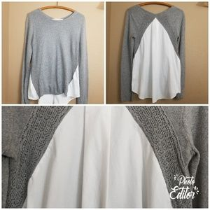 Rachel Roy    grey cutout white insert sweater
